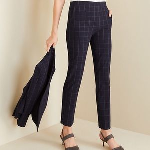 Ann Taylor Navy Check Print High Waist Ankle  Pant